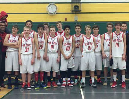 Woodstock Collegiate Institute's junior boys' basketball team won silver at 'AA' WOSSAA finals in Tillsonburg Feb. 23, 2017. WCI won their semifinal 56-38 against London's South Collegiate Institute and lost to St. Thomas' St. Joe's 54-50 in the gold medal game. Submitted photo
