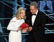 Actors Faye Dunaway (L) and Warren Beatty speak onstage during the 89th Annual Academy Awards at Hollywood & Highland Center on February 26, 2017 in Hollywood, California. (Photo by Kevin Winter/Getty Images)