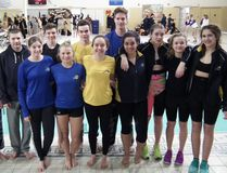 Senior members of the Saugeen Shores Breakers Swim Club excelled at a recent meet in Barrie - many setting new personal best times. Local competitors at the Feb. 3-5 meet included, from left: Zachary McEwen, Jason Horseman, Avery Fitzgerald, Liam Fitzgerald, Carlin Reid, Braeden Ashton, Lauren Andrews, Cameron McEwen, Madelyn Griffiths, Sydney Beauregard, Rebecca Schropp and Rachel Bohnert.