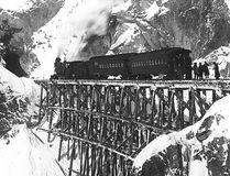 Submitted photo Michael Heney, a native of Stonecliffe, built the White Pass and Yukon Route railroad. This photo shows the first passenger train on the route in 1899. A play celebrating the famous railroad builder's life is scheduled to debut this fall.
