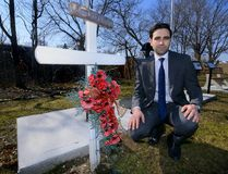 London MP Peter Fragiskatos at the memorial to Vimy Ridge veterans, put together by volunteers in a small bit of greenspace near the Hale Street roundabout, is a perfect tribute and should be designated in time for the Vimy Ridge centenary in April. (MORRIS LAMONT, The London Free Press)