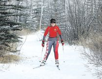 Cochrane's Elouise Stewart practices on the paths on Sunday behind her house before heading to Austria to defend her gold medal in 10-kilometre and silver medals in 7.5-kilometre cross-country and relay races at the Special Olympics World Winter Games.