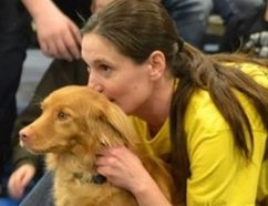 Jessica Berg, certified professional dog trainer and owner of Forever Pawsitive K-9 Academy in Wiarton, at the Norfolk Wildlife Festival and Adventure Show in Simcoe, March 12, 2016.