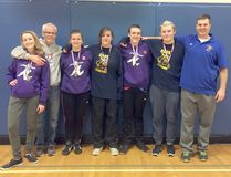 Woodstock will have four wrestlers head to OFSAA March 1 to 3 in Brampton with five having medalled at WOSSAA finals Feb. 17. Kaylee McQuaid, left, Dinfy Vanzanvoort, third from the left, Angel Murray, middle, Elliot Tasker, third from the right and Damian Watson, second from the right, all winning WOSSAA medals. (Submitted photo)
