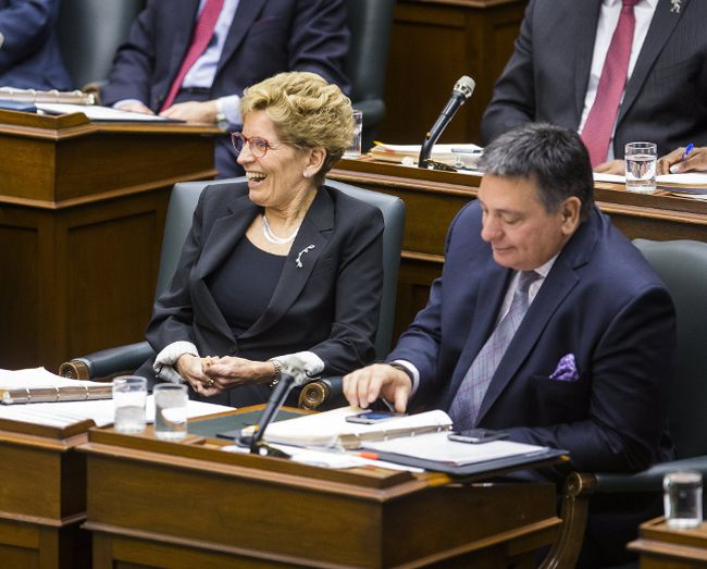 Ontario Premier Kathleen Wynne and Finance Minister Charles Sousa at Queen's Park in Toronto on Tuesday, February 21, 2017. (Ernest Doroszuk/Toronto Sun)