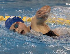 Caroline Zhang, 15, of the Burlington Aquatic Devilrays, competes in the girls 1,500-metre freestyle event on Friday during the Ontario Spring Provincial Championships at the Wayne Gretzky Sports Centre. (Brian Thompson/The Expositor)