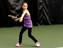 Abigail Gordon is pictured practicing in Port Huron recently. The Sarnia second-grader is one of 16 players in an Ontario Tennis Association training program for top provincial talent. (Submitted)