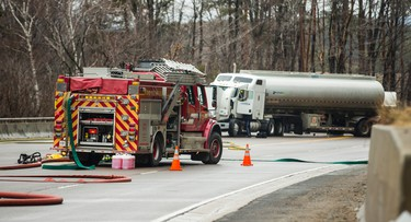 Aftermath and clean up after tanker truck crash along Highway 9 from Airport Rd. to Glen Haffy Rd near Caledon, Ont.  on Tuesday March 7, 2017. Ernest Doroszuk/Toronto Sun/Postmedia Network