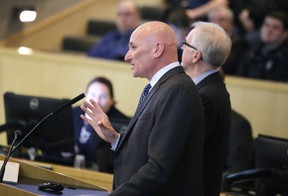Consultant Ron Bidulka presents his recommendations for the Sudbury arena project at the city council meeting in Sudbury, Ont. on Tuesday March 7, 2017. Gino Donato/Sudbury Star/Postmedia Network