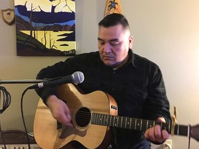 Kettle & Stony Point First Nation musician Brandon Solomon, pictured here, recently penned a song that's landed on the National Aboriginal Music Countdown. That song, An Eye for An Eye, was recorded at Sarnia's DNA Media Group studio and features Kick O Nong, a Kettle & Stony Point First Nation drumming group. (Handout)