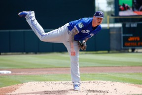 Mat Latos of the Toronto Blue Jays pitches against the Baltimore Orioles in a spring training game on March 8, 2017 at Ed Smith Stadium in Sarasota, Florida. (Justin K. Aller/Getty Images)