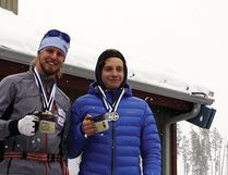 Fort Saskatchewan Ski Nordic Club cross country skier Larkin Wasmuth (left) received this year's Alberta Cup aggregate award after combined times from six of his best provincial races ranked the top of the heat. (Supplied photo)