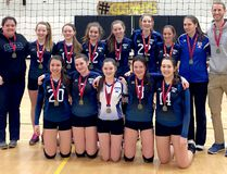 The Timmins High & Vocational School Blues defeated the Timiskaming District Secondary School Saints in the finals at the 2017 NEOAA Junior Girls 'AA' Volleyball Championships to capture the gold medals. Members of the championship team are front row, from left: Brook-Lynn Fluery, Mikayla Caldwell, Kaylee Mainville, Maegan Schryburt and Hannah Hickey. Back row, from left: assistant coach Tomara Kaye, Melissa Sharp, Cassie Ferron, Sydney Lessard, Braelee Gordon, Kieme McIvor, Amy-Lee Lessard, assistant coach Wendy Legros and head coach Mike Kazienko. Missing from the photo is Mya Sabourin. SUBMITTED PHOTO