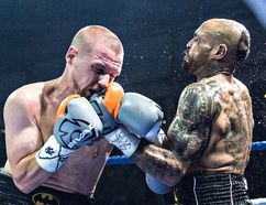 Winston Matthews (right) of the Brantford Black Eye Boxing Club recently fought Aurey Cox to a draw at the Hershey Centre. (Photo courtesy of Jeff Lockhart)