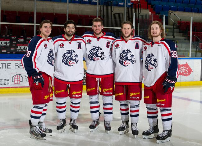 <p>Graduating Cornwall Colts are, from left, Dean Derouchie, Tristan Conrad, Grant Cooper, Tanner Spink and Shawn Baird.</p><p>