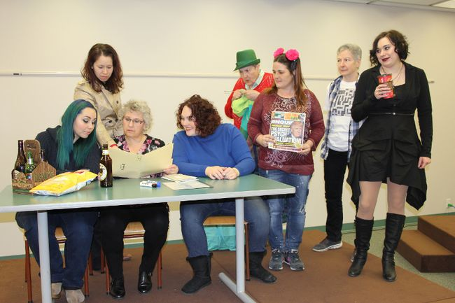 <p>Krystal Taillon, Nikaiataa Skidders, Laurie Manzer, Jenny Dagenais, Elaine Kennedy, Jen Crites, Yvonne Lortie and Alison Latimer make up the cast of Knickers, the latest play being produced by Vagabond Theatre. The first showing will be on March 31 at the Nav Centre. Photo taken on March 12, 2017, in Cornwall, Ont.</p><p> Lois Ann Baker/Cornwall Standard-Freeholder/Postmedia Network