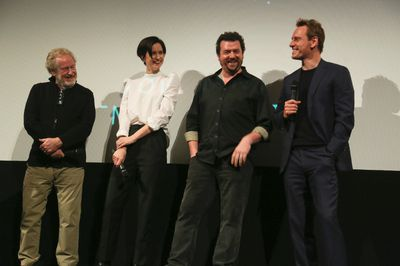"Director Ridley Scott, Katherine Waterston, Danny McBride, and Michael Fassbender, from left, discuss their upcoming film, ""Alien: Covenant,"" before a special screening of ""Alien"" at the Paramount Theatre during the South by Southwest Film Festival on Friday, March 10, 2017, in Austin, Texas. (Photo by Jack Plunkett/Invision/AP)"