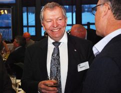 PAUL KRAJEWSKI HIGH RIVER TIMES/POSTMEDIA NETWORK. Ted Menzies, former Macleod MP, mingles with guests during a dinner held in his honour at the Highwood Golf and Country Club on March 11, 2017, in High River, Alta.