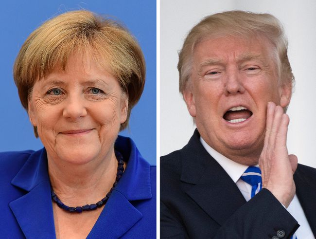 This combination shows U.S. President Donald Trump and German Chancellor Angela Merkel. (DON EMMERT/TOBIAS SCHWARZ/AFP/Getty Images)