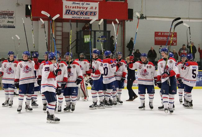 The Strathroy Rockets salute their fans after being eliminated from post-season action in four straight games by the first place LaSalle Vipers at the West Middlesex Memorial Centre on Tuesday, March 7. The Rockets lose just two players to age, putting the club in an excellent position to move significantly up the standings next season. (Colleen Wiendels Photography)