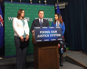 Wildrose MLAs Angela Pitt, Scott Cyr and Leela Aheer unveil a private members bill on March 14, 2017 that gives victims of non-consensual intimate image sharing better tools to seek damages. Photo by Stuart Thomson.