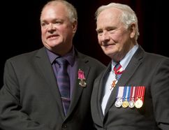 Elmwood resident Barry Gateman received the Medal of Bravery from Governor General David Johnston during a ceremony held March 9 in London. Gateman and fellow rescuer James Sylvest were recognized for saving a woman from a burning car near Sauble Beach on Oct. 1, 2015. (Mike Hensen/Postmedia Network)