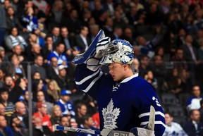 Frederik Andersen of the Toronto Maple Leafs skates back to his goal during an NHL game against the Detroit Red Wings at Air Canada Centre on March 7, 2017. (Vaughn Ridley/Getty Images)