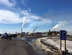 Entrance to Syncrude site near Fort McMurray where emergency crews are tackling a fire that broke out at Fort McMurray's Syncrude base mine.Olivia Condon/postmedia