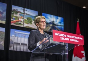 Ontario Premier Kathleen Wynne announces cuts to hydro rates during a press conference in Toronto on Thursday, March 2, 2017. (Ernest Doroszuk/Toronto Sun)
