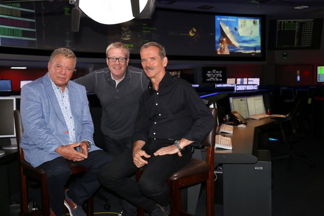 William Shatner (left) and Craig Thompson, executive producer of Stratford-based Ballinran Entertainment (centre), interviewed Chris Hadfield at NASA for a new documentary about how Star Trek has influenced scientific exploration. (Submitted Photo)