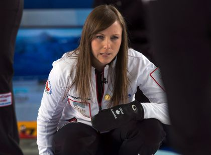Canada's skip Rachel Homan watches a rock against the United States at the world women's curling championship in Riga, Latvia on Saturday, March 23, 2013. THE CANADIAN PRESS/Andrew Vaughan