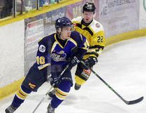 KL Gold Miner Matt Brassard carries the puck up the ice during Tuesday's series-clinching win against Iroquois Falls.