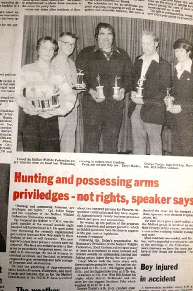 This week's Throwback Thursday goes back to 1979 and the guest speaker at the Melfort Wildlife Federation banquet. 