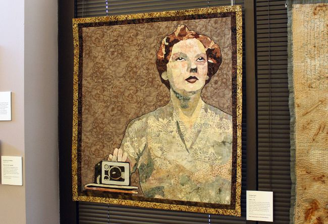 London, Ont. artist Christine Earl's piece Selfie, 1952 was inspired by a photo her mother took of herself with a Kodak Brownie camera. The textile piece is one of 36 artworks featured in the Threadworks 2016: Flashback traveling exhibit, which opened at the Lake of the Woods Museum on Tuesday, March 14.