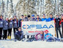 Oxford County's nordic skiers pose for a photo during a break in the races at OFSAA nordic skiing finals Feb. 28 and March 1 in Timmins. Oxford County saw 18 skiers compete at provincials, which was their highest amount of skiers in recent ski seasons. (Submitted photo)