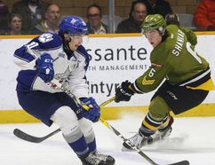 Sudbury Wolves forward Shane Bulitka (2) curls at the blueline as North Bay Battalion defenceman Zach Shankar (6) keeps an eye during the second period of OHL action at Memorial Gardens, Thursday. Shankar registered two assists in North Bay's 4-0 win with the two teams playing again tonight at Sudbury Community Centre. Dave Dale / The Nugget