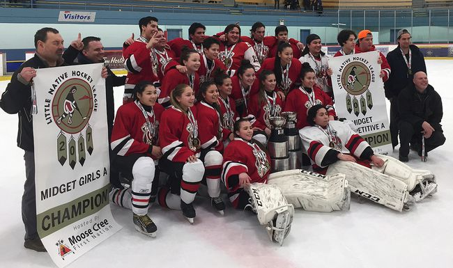 Nipissing Warriors girls and boys won midget gold at the 46th Little NHL tournament in Mississauga at the Hershey Centre, Thursday. The Nipissing midget girls team included goalie Cailen Hanzlik, Lillian George, Melanie Young, sisters Alicia and Ashley Gillies, Britney Zack, Kara Neveau, Jesse Kennedy, Jayleen Lazurus, Cassie Whitey, Angela Green and  Lily Farrell. The Warriors boys, which played in the competitive checking division, included goalie Miikah Friday-Keeshig, Blake Beaucage, Emile Cyre, Miguel Cyr, Mathieu Dupis-Dokis, Weston Goulais, Darian Goulais, Melcolm McLeod-Penasse, William Michaud, Chad Lafortune, Keelan Jacobs and Jacob Bell. Coaches are Jason Cyr, Don Michaud, Josh Goulais, and Gerry Dupuis, and manager Samantha Goulais.