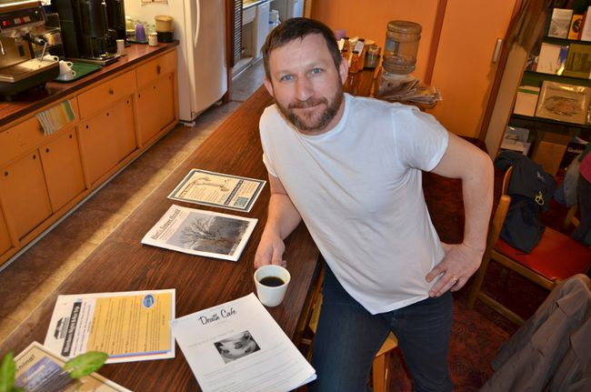 Josh Richardson will co-host a discussion about the arts and mental health Wednesday at 7 p.m. at the Ginger Press Bookshop and Cafe in downtown Owen Sound. In March when this photo was taken, he hosted a Death Cafe-style gathering there to talk about death. (Scott Dunn/The Sun Times, Owen Sound)