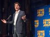 """Prime Minister Justin Trudeau speaks to the audience before the start of the Broadway debut of the musical """"Come From Away"""", in New York City on Wednesday, March 15, 2017. (THE CANADIAN PRESS/Ryan Remiorz)"""