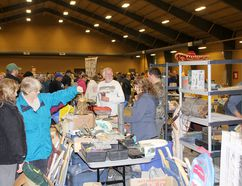 A large crowd was on hand for a giant garage sale at the John D. Bradley Convention Centre in Chatham, held in support of CK Animal Rescue. (Trevor Terfloth/The Daily News)