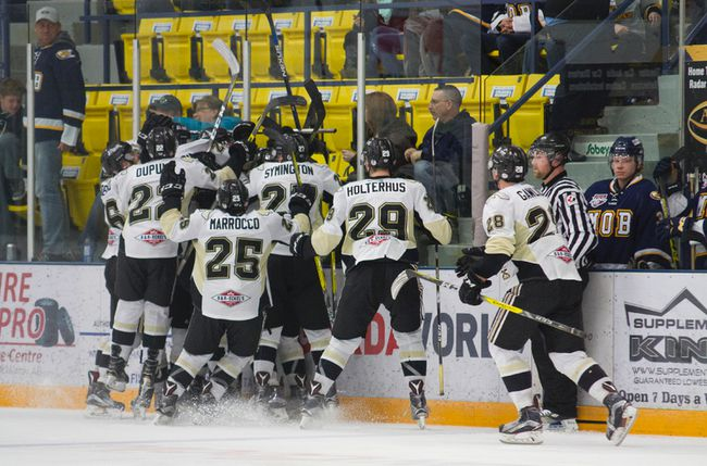The Bonnyville Pontiacs celebrate their double overtime victory over the Fort McMurray Oil barons at the Casman Centre Saturday night. Robert Murray/Fort McMurray Today/Postmedia Network