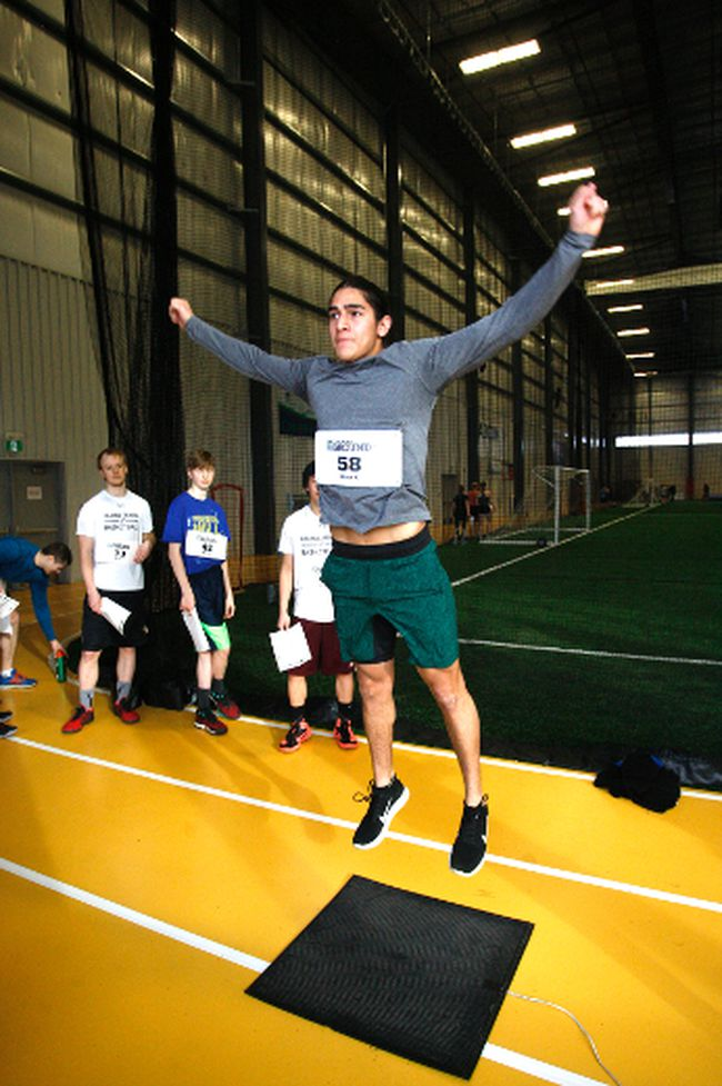 Bernardo Rojas, 21, of Mexico, tests his power with a vertical jump during the RBC Training Ground qualifier on Saturday March 18, 2017 at the Crosslink County Sportsplex, 5km north of Grande Prairie, Alta. t the event, athletes between the ages of 14-25 were put through a series of tests such as anthropometry (height, weight, wingspan), vertical jump, 40m sprint, isometric mid-thigh pull and multi-stage fitness test (beep test) in front National Sport Organizations (NSOs). Top athletes from the event were selected to advance to a regional qualifier in Calgary on May 6 where they will go up against up to 100 other athletes and showcase themselves in front of national and provincial officials. The focus of the program is to identify potential future Olympians. 