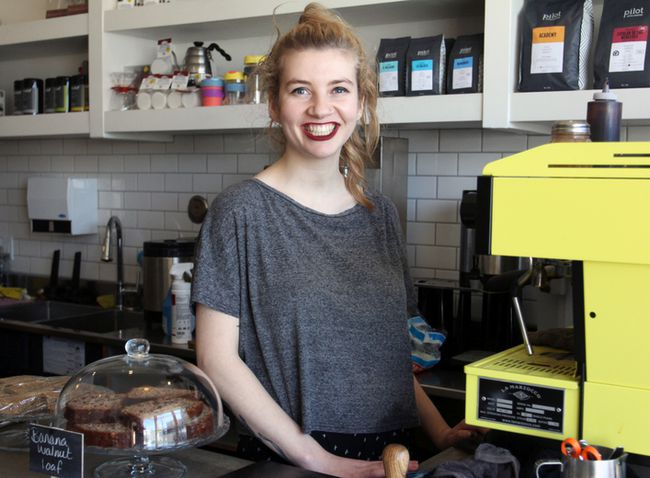 Brittany Moore, organizer of the Kingston Barista Competition, at The Elm Cafe on Sunday. (Steph Crosier/The Whig-Standard)