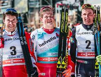 Medal winners from the World Cup cross-country men's pursuit race, left to right, silver medallist Alex Harvey, of Canada, gold medallist Johannes Hoesflot Klaebo and bronze medallist Niklas Dyrhaug, both of Norway. The race was held Sunday, March 19, 2017 in Quebec City. Modica/NordicFocus