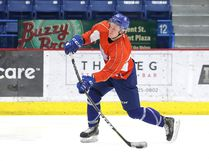 Sudbury Wolves forward Michael Pezzetta fires a shot during practice at Sudbury Community Arena on Monday afternoon. Gino Donato/The Sudbury Star