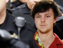 "In this Feb. 19, 2016, file photo, Ethan Couch is led by sheriff deputies after a juvenile court hearing in Fort Worth, Texas. Lawyers for Couch, who used an ""affluenza"" defense in a 2013 fatal drunken-driving wreck, filed a motion Friday, March, 17, 2017, with the Texas Supreme Court in an effort to secure his release from jail. They argue that a judge had no authority to sentence Couch to nearly two years in jail after his case was moved from juvenile to adult court. (AP Photo/LM Otero, File)"