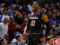 Duane Notice #10 of the South Carolina Gamecocks reacts in the second half against the Duke Blue Devils during the second round of the 2017 NCAA Men's Basketball Tournament at Bon Secours Wellness Arena on March 19, 2017 in Greenville, South Carolina. (Ph