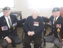 Donald Fraser (middle) is a 102-year-old veteran who resides in Mayerthorpe and was recently awarded with an Arctic Star by two members of the Royal Canadian Legion Branch 44 (Jeremy Appel | Mayerthorpe Freelancer).