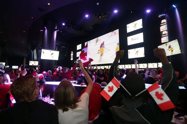 Fans gather at Real Sports Bar beside the Air Canada Centre in Toronto to watch Team Canada's men's hockey team win the gold medal against Sweden on Feb. 23, 2014. Telecommunications giants Bell and Rogers are increasing fees to bars that broadcast sports channels TSN and Sportsnet. (Michael Peake/Toronto Sun/Files)