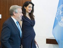 Human rights lawyer Amal Clooney, right, meets with United Nations Secretary-General Antonio Guterres, Friday, March 10, 2017, at United Nations headquarters. (AP Photo/Mary Altaffer)